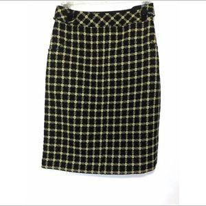 Carlisle Black Yellow Wool & Silk Pencil Skirt 4